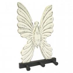 Perchero madera - Mariposa blanco decapado