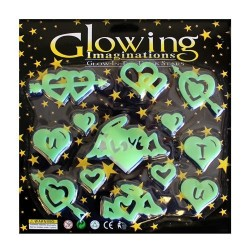 10 Big pack glow in the dark - Corazón amor