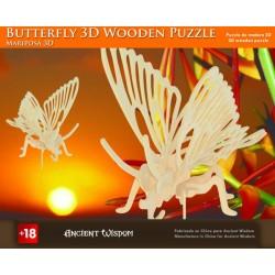 4 Puzzles de madera 3d - mariposa