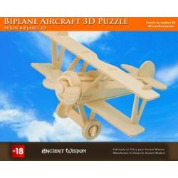 4 Puzzlez de madera 3d - avioneta con 2 alas