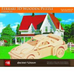 4 Puzzlez de madera 3d - ferrari