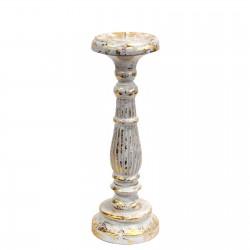 Candelabro blanco y oro decapado 34x10 cm