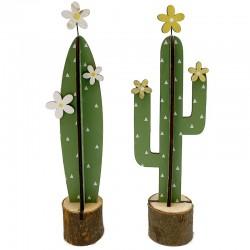 2 Plantas cactus madera 9x6x30cm - diseños variados