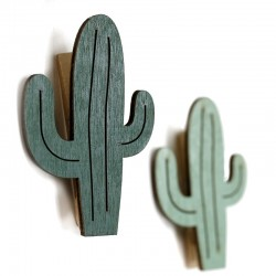 3 Set 6 pinzas madera cactus 4.8cm - colores surtidos