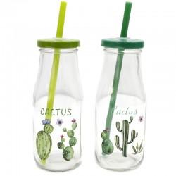 2 Botellas cactus cristal con tapa 15,5x6,3x6,3 cm (300 ml) - diseños variados