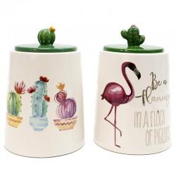 2 Botes porcelana flamenco cactus 11x16cm - diseños variados