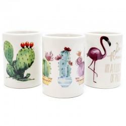 3 Vasos porcelana flamenco cactus 7,3x10 cm