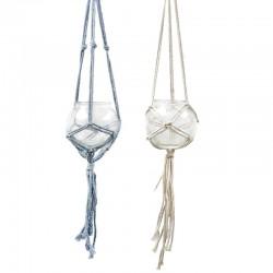 2 Maceteros colgante cristal cuerda - colores variados