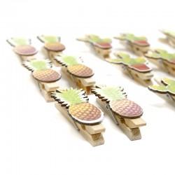 4 Set 6 pinzas madera tropical 4.8cm - diseños variados