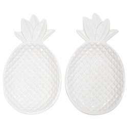 2 Platos piña porcelana 29x17x3.5cm - blanco