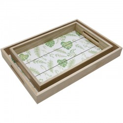 Set 2 bandejas jungla madera 35x24x4cm | 30x20x4cm