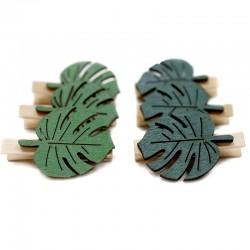 3 Sets 6 pinzas hoja madera jungla 4,8 cm - colores surtidos