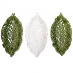 3 Bandejas hoja cerámica jungla 22x10,5x3cm - colores surtidos