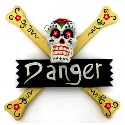 """2 Carteles """"danger"""" calavera - blanco"""