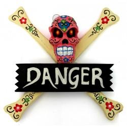 "2 Carteles ""danger"" calavera - rosa"