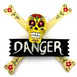 """2 Carteles """"danger"""" calavera - amarillo"""