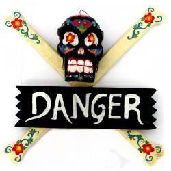"2 Carteles ""danger"" calavera - negro"