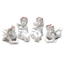 4 Querubines corona rosas tumbados
