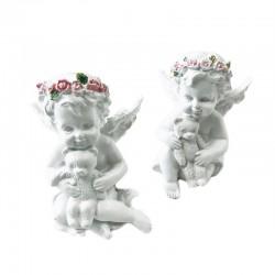6 Querubines corona rosas con osito