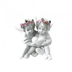 4 Querubines corona rosas cogiendo corazón