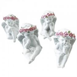 4 Querubines corona rosas sentado y pensando
