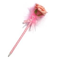 12 Bolígrafos flor terciopelo rosa