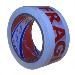"""6 Cinta embalar plástico blanco 4.8X66m texto """"frágil"""""""