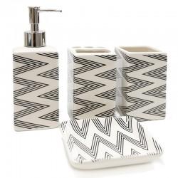 "Set baño 4 pzas. diseño zigzag ""África Ruge"""