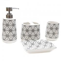 "Set baño 4 pzas. diseño geométrico ""África Ruge"""