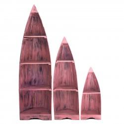 Set de 3 Estanterias Barco - Rosa Decapado