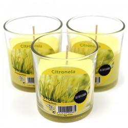 6 Velas citronela vaso de cristal 75x70mm