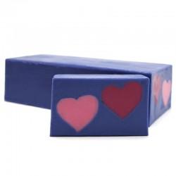 Jabón diseño corazones - frutos rojos