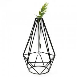 """Florero diseño geométrico negro """"Golden Chic"""" 23x15cm"""