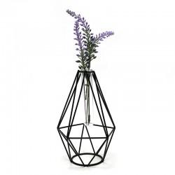 """Florero diseño geométrico negro """"Golden Chic"""" 17x10cm"""