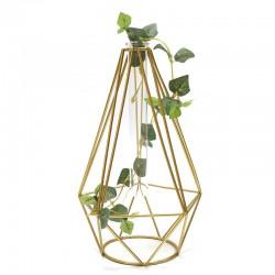 "Florero diseño geométrico dorado ""Golden Chic"" 23x15cm"