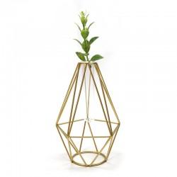 "Florero diseño geométrico dorado ""Golden Chic"" 17x10cm"