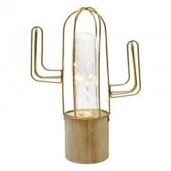 """Lámpara led cactus dorado """"Golden Chic"""" 7x22x17cm"""