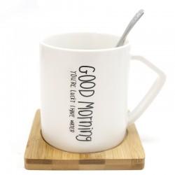 """Taza good morning posavaso bambú y cuchara """"Golden Chic"""" 9x∅:8cm"""