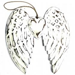 Doble alas Ángel y corazón hecho a mano - 24cm