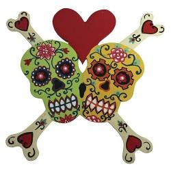 Calavera huesos corazón - verde y amarillo