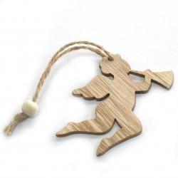 6 Packs 3 colgantes decoración madera navideña - querubín