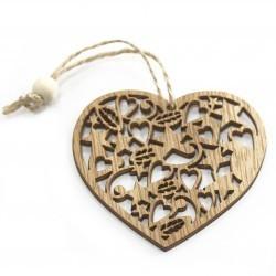 6 Packs 3 colgantes decoración madera navideña - corazón