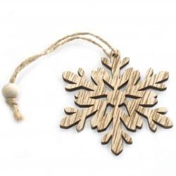 6 Packs 3 colgantes decoración madera navideña - copo de nieve
