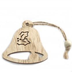 6 Packs 3 colgantes decoración madera navideña - campana