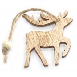 6 Packs 3 colgantes decoración madera navideña - reno