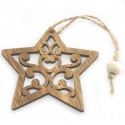 6 Packs 3 colgantes decoración madera navideña - estrella