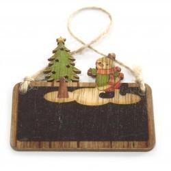6 Packs 2 colgantes decoración madera navideña - muñeco de nieve y árbol