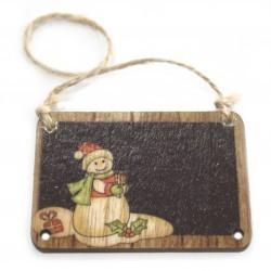 6 Packs 2 colgantes decoración madera navideña - muñeco de nieve