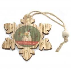 6 Packs 2 colgantes decoración madera navideña - copo nieve y muñeco nieve
