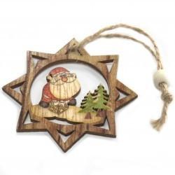 6 Packs 2 colgantes decoración madera navideña - Papá Noel y estrella